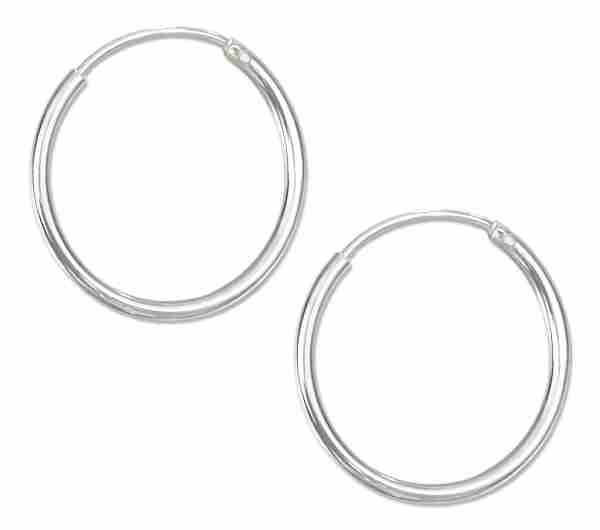 Ea 1665 18mm Diameter Endless Tubular Hoop Earrings