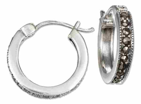 Marcasite Hoop Earrings French Locks