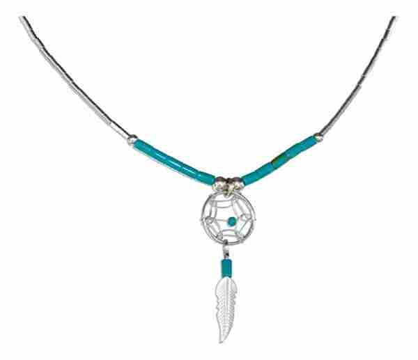Small Turquoise Dream Catcher Necklace