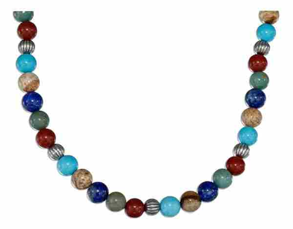 Beaded Gem Stone Necklace