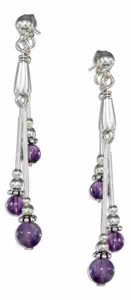Amethyst Post Dangle Earrings