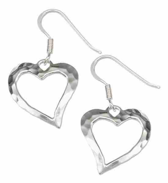 "3/4"" Hammered Contemporary Open Heart Dangle Earrings"
