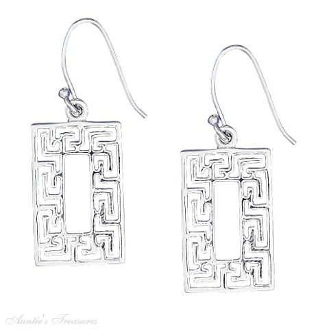"3/4"" X 1/2"" Greek Key Rectangle Dangle Earrings"