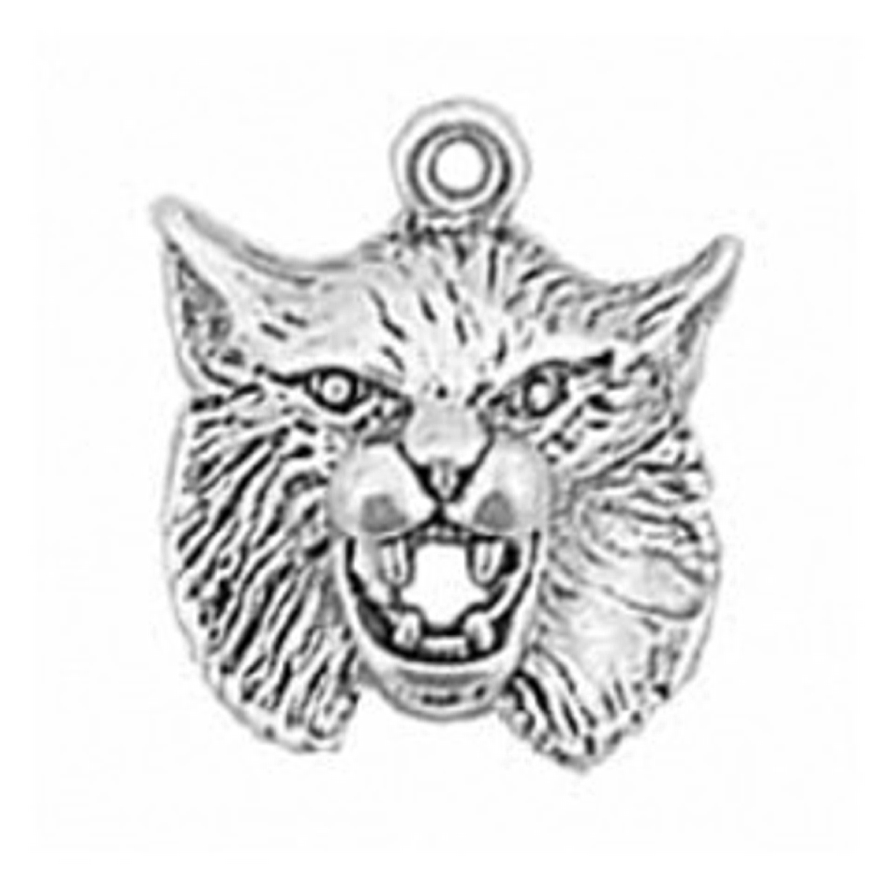 3D Detailed Team Mascot Lynx Bobcat Cat Charm With Hollow Back