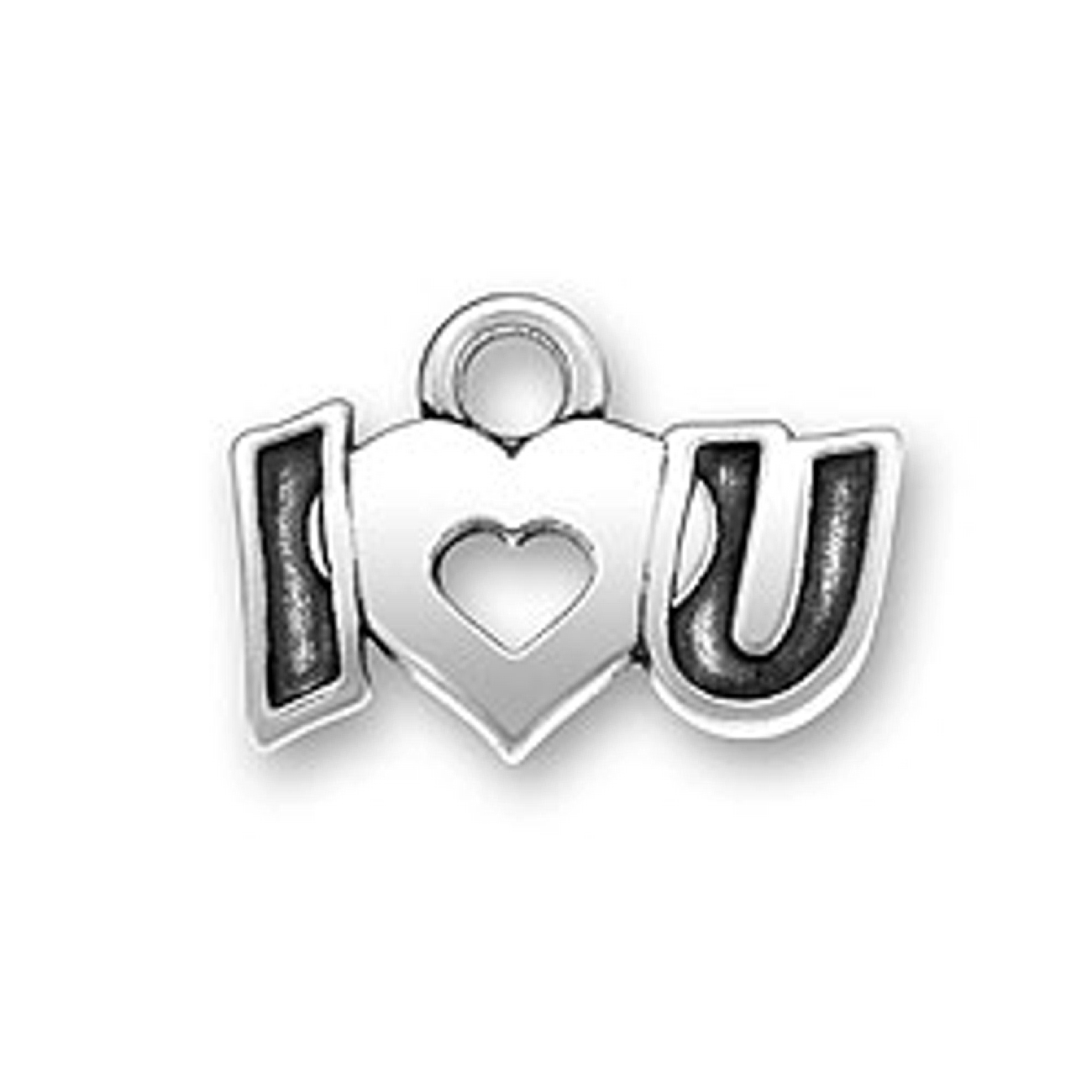 I Love You Message Word Charm With Heart