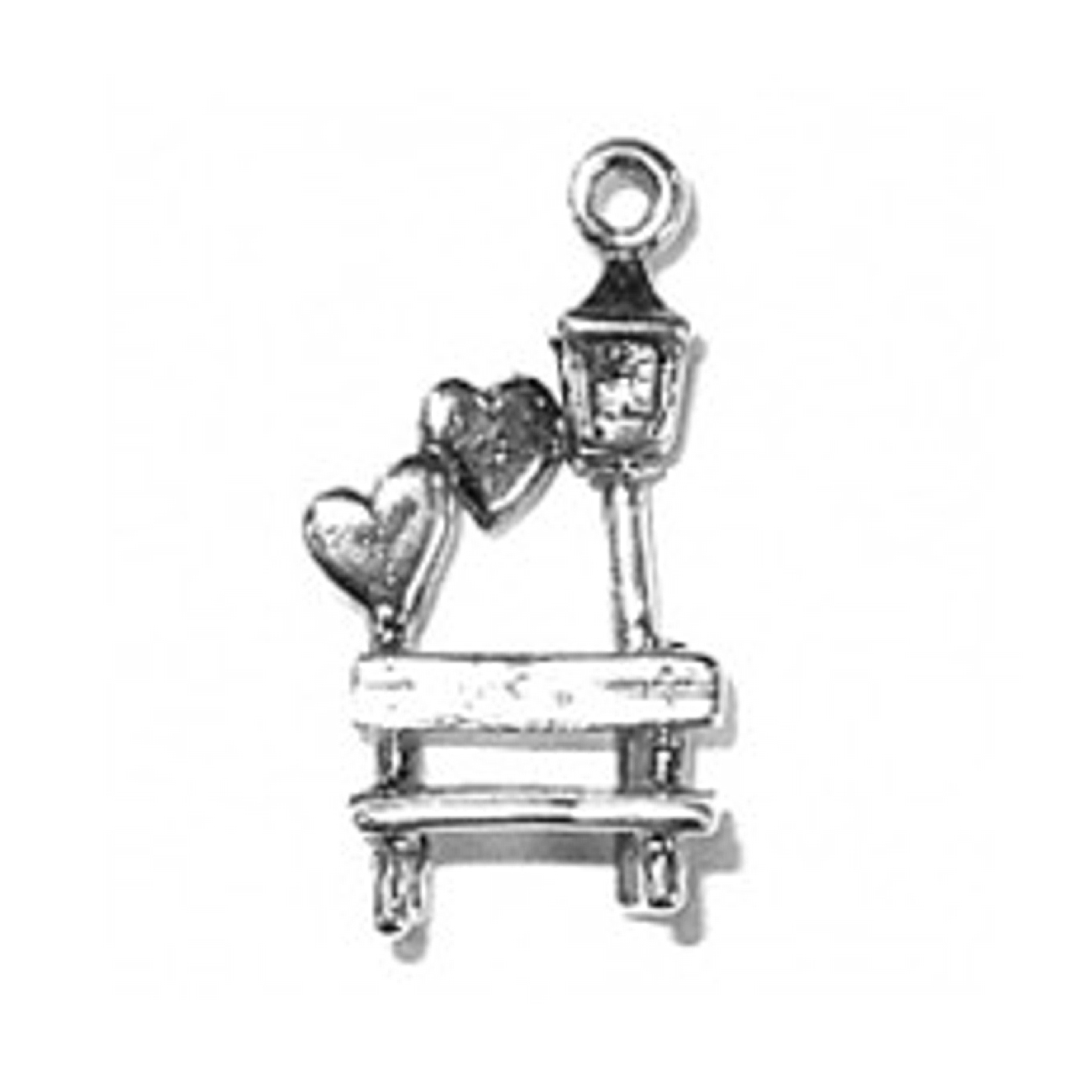 3D Love In The Park Bench And Lamp Post Charm With Hearts