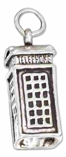 3D British Telephone Booth Charm