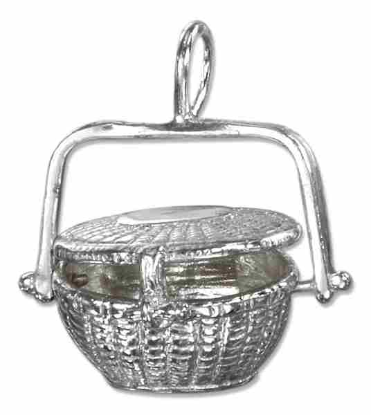 3D Nantucket Picnic Basket Openable Locket Pendant