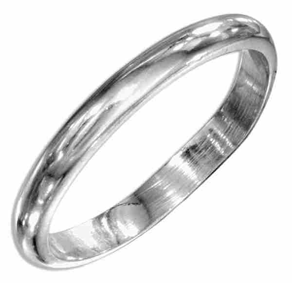 Unisex 3mm Thin Plain Band Ring