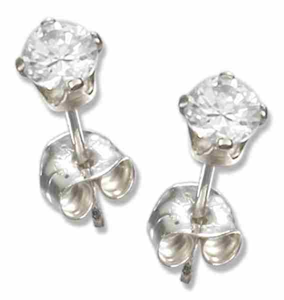 3mm Diameter Round Clear Cubic Zirconia Stud Post Earrings