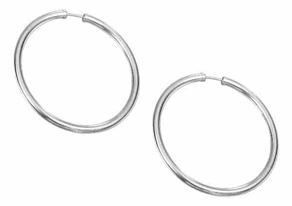 51mm Diameter Tubular Hingeless Endless Hoop Earrings