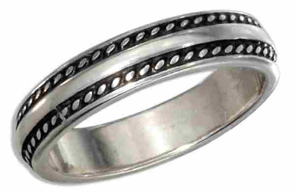 Coin Edge Center Band Ring