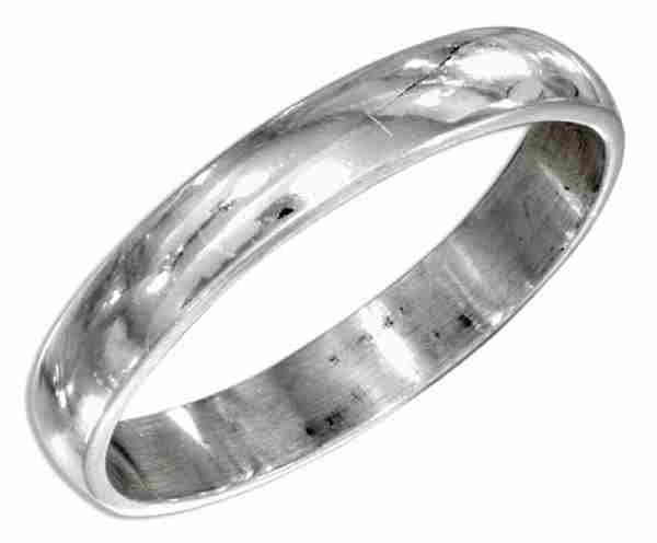 Unisex 4mm Thin Plain High Polished Band Ring