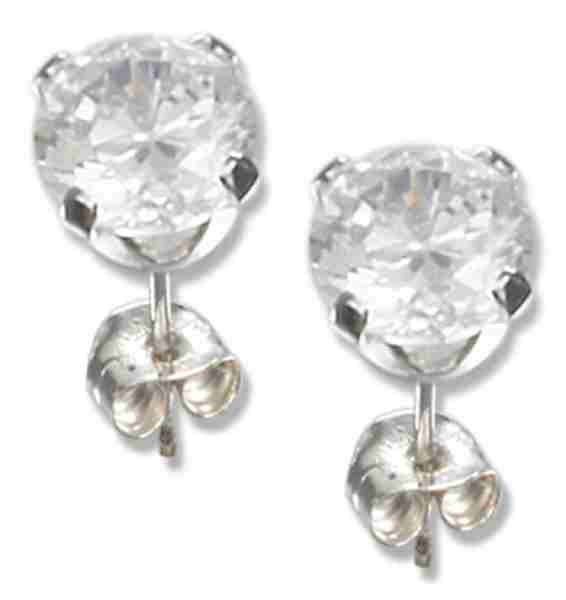 4mm Diameter Round Clear Cubic Zirconia Stud Post Earrings
