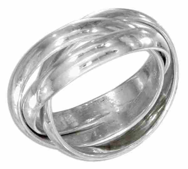 Unisex 3 Band Rolling Ring Or Russian Wedding Ring 3mm