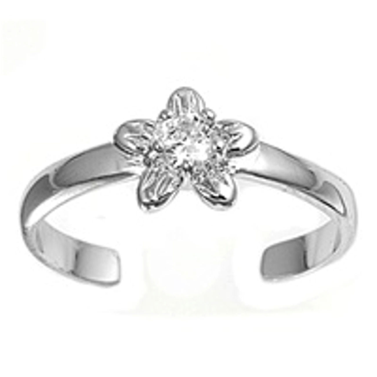 Clear Cubic Zirconia Five Petal Flower Adjustable Toe Ring