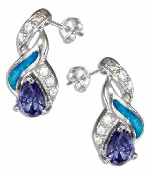 Imitation Tanzanite Blue Opal Teardrop Post Earrings