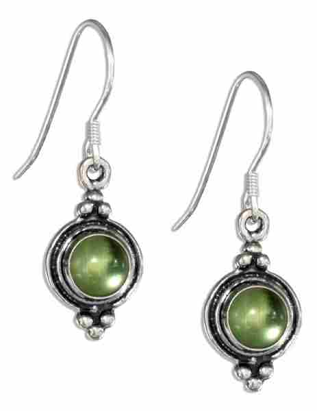 Peridot Plain Border Triple Top Bottom Beads Earrings