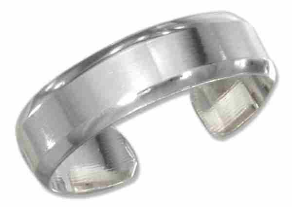 Sterling Silver Men's Beveled Plain Adjustable Toe Ring