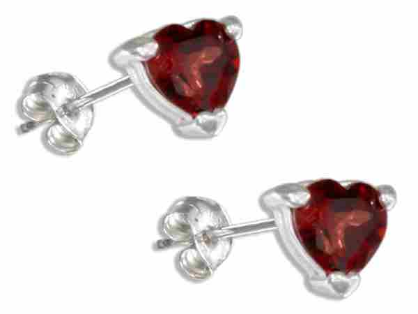 Garnet Heart Post Earrings