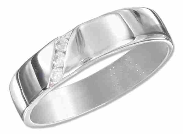 Diagonal Cubic Zirconia Ring