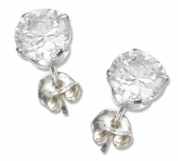 5mm Diameter Round Clear Cubic Zirconia Stud Post Earrings