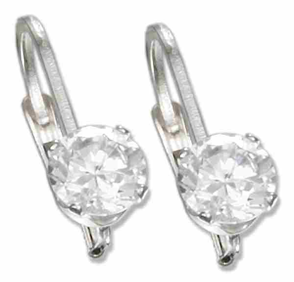 Cubic Zirconia Leverback Earrings