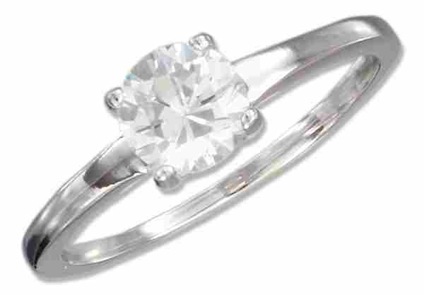 Cubic Zirconia Ring On Plain 2mm Band