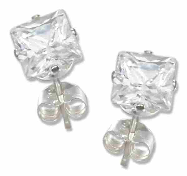 5mm Wide Square Cubic Zirconia Stud Earrings