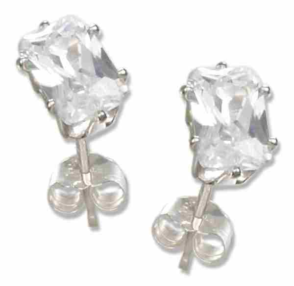 5mm x 7mm Rectangular Cubic Zirconia Stud Earrings