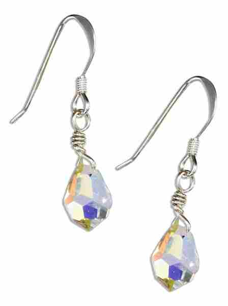 Faceted Aurora Borealis Crystal Teardrop Earrings