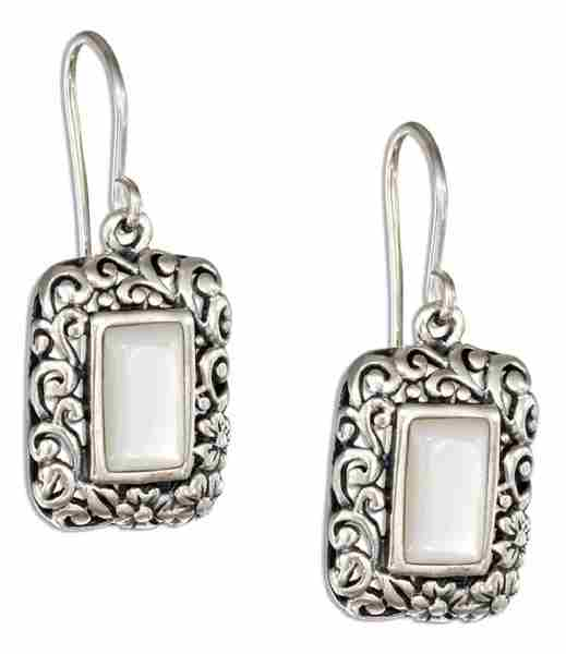 Mother Of Pearl Rectangles Fancy Filigree Border Earrings