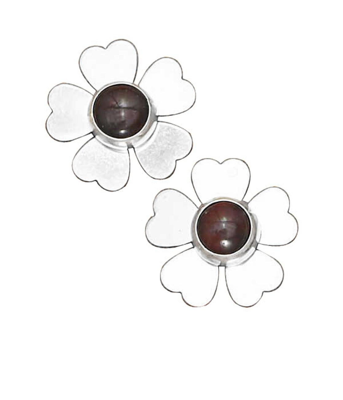 Garnet Flower Post Earrings