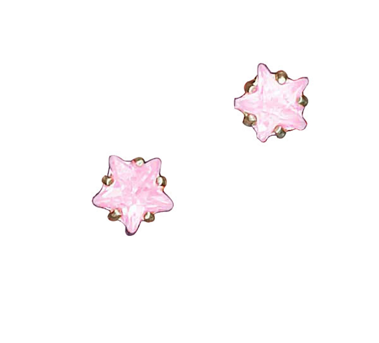 Pink Cubic Zirconia Star Post Earrings