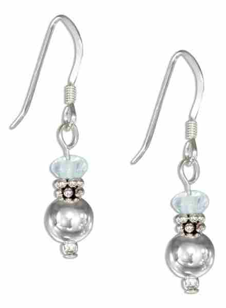 Blue Topaz Ball Dangle Earrings