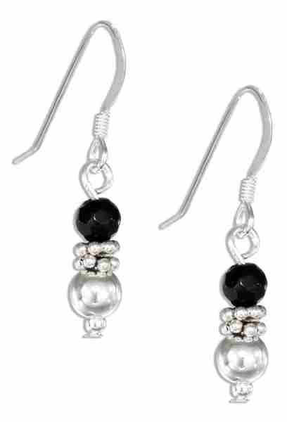 Black Onyx Ball Dangle Earrings