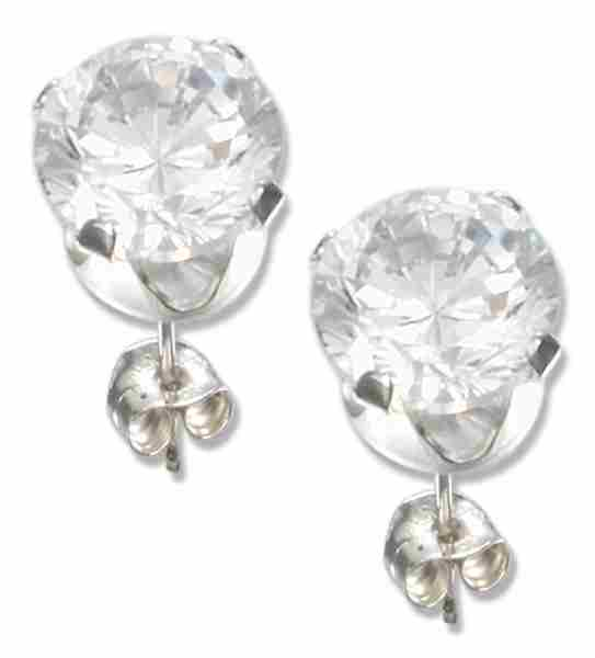 6mm Diameter Round Clear Cubic Zirconia Stud Post Earrings
