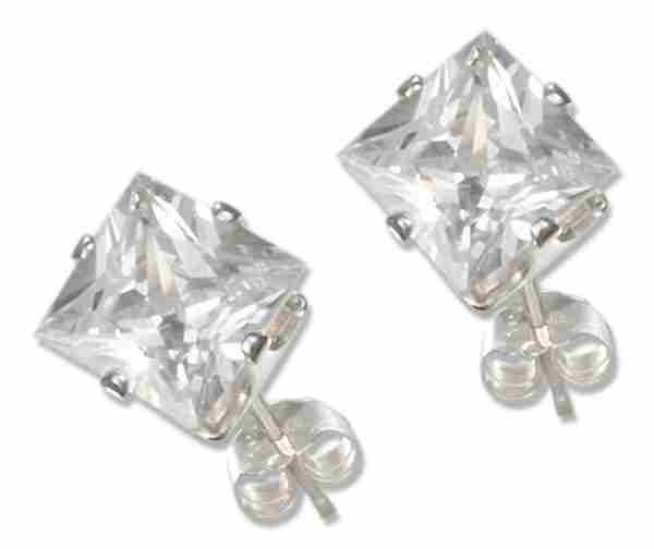 6mm Wide Square Cubic Zirconia Stud Earrings