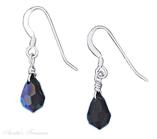 6x10mm Black Aurora Borealis Teardrop Dangle Earrings