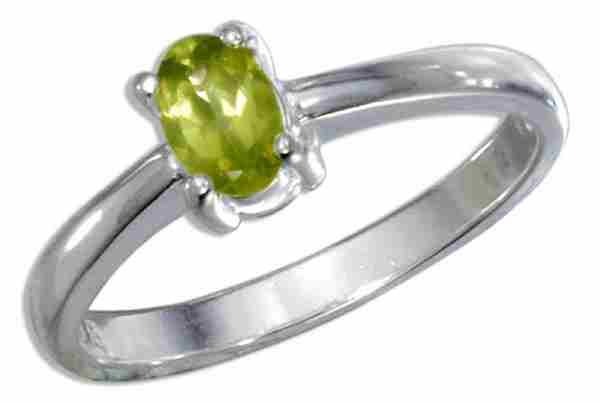 Oval Peridot Solitaire Ring