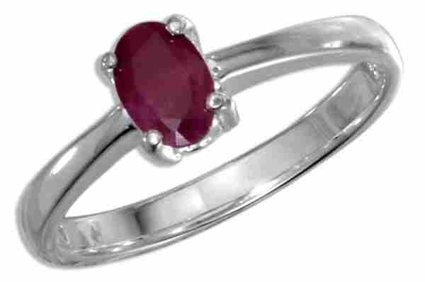 Oval Ruby Solitaire Ring