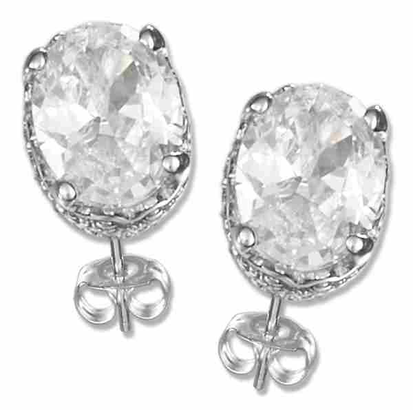 Cubic Zirconia Stud Earrings Basket Setting