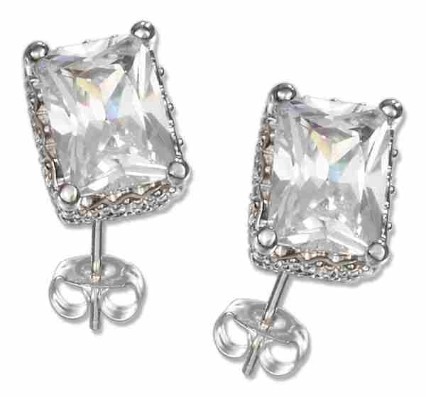 Princess Cut Cubic Zirconia Stud Earrings Basket Setting
