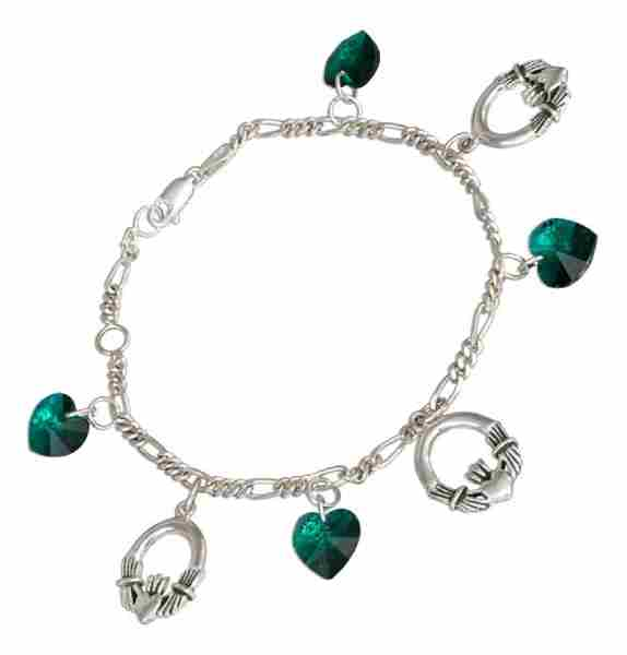 "7""-8"" Adjustable Figaro Charm Bracelet 10mm Green Glass Hearts C"