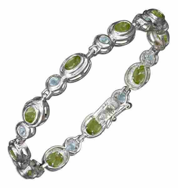 Gem Stone Bracelet Alternating Blue Topaz Peridot