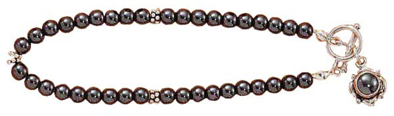 Hematite Beads Spacer Beads Flower Toggle Bracelet