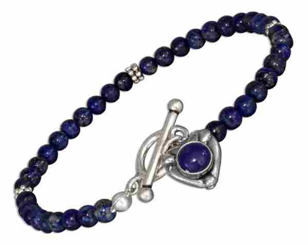 Lapis Heart Toggle Bracelet