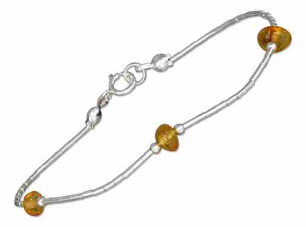 Three Honey Cognac Amber Beads Bracelet