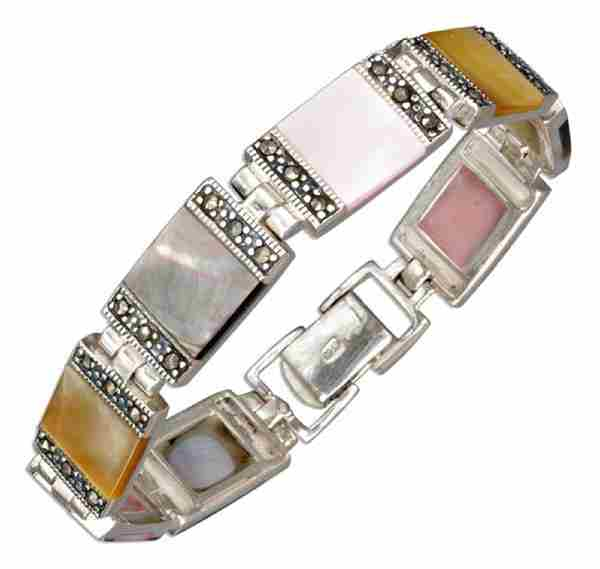 Marcasite Color Mother Of Pearl Square Link Bracelet