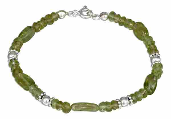 Peridot Beaded Spacers Bracelet